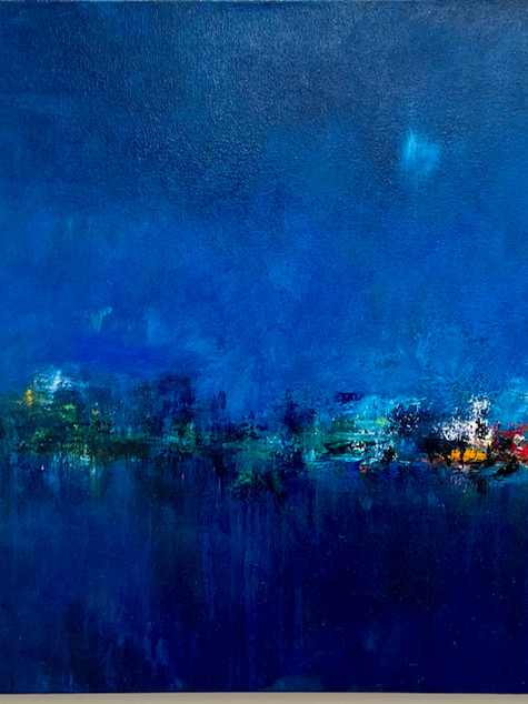 Reflections in Blue, Oil on Canvas, 60 x 28, 2021 (sold)