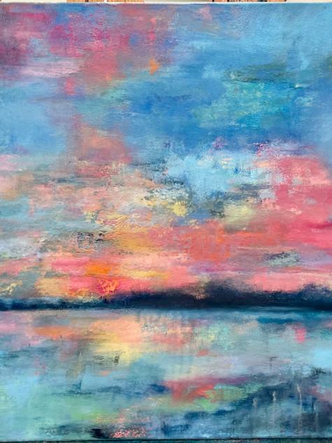 Sunrise Reflections, oil on canvas, 60 x 28, 2012.jpeg