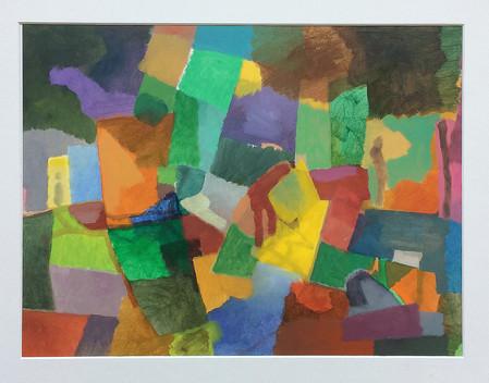 Kleine Farbimmprovisation, 2018, Öl auf Papier, 30 x 40 cm