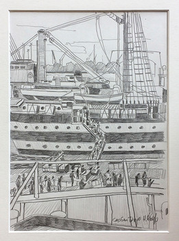 7_Cap San Diego + Amerigo Vespucci, 2018, Bleistifft auf Papier, 21 x 29,7 cm