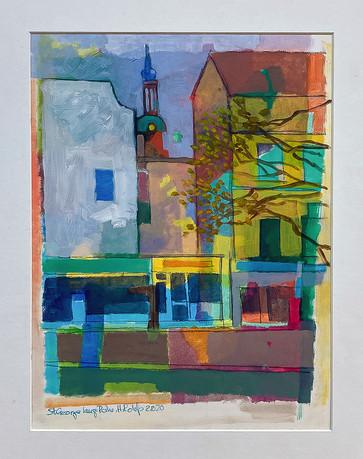 St Georg, Lange Reihe, Öl auf Papier, 30x40 cm