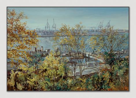 Övelgönne, 1997, Öl auf Papier, 32 x 44 cm - sold.