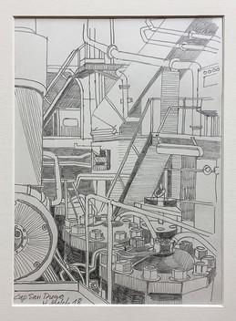 11_Cap San Diego, Maschinenraum, 2018, Bleistifft auf Papier, 21 x 29,7 cm