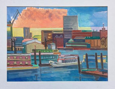 Sonnenuntergang HH Hafen, 2021, Öl auf Papier, 30x40 cm