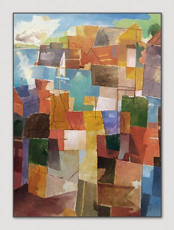 Hafenrand, 2016, Öl auf Papier, 59x42 cm