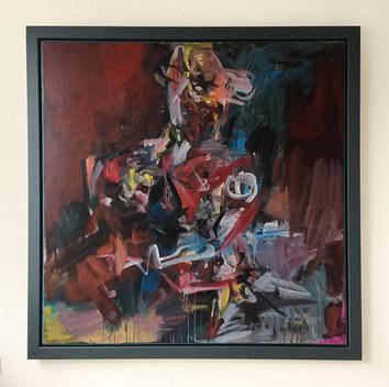 Sitzende, 1994, Acryl auf Leinwand, 145 x 145 cm - sold.