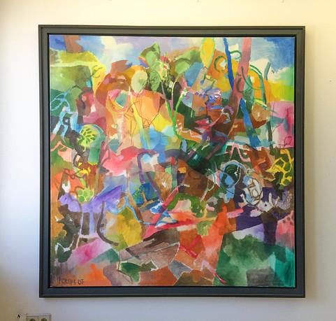 Gartenbild mit Kuh, 2007, Öl auf Leinwand, 140 x 140 cm - sold.