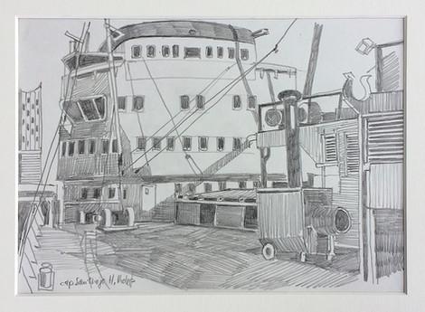 13_Cap San Diego, 2018, Bleistifft auf Papier, 21 x 29,7 cm