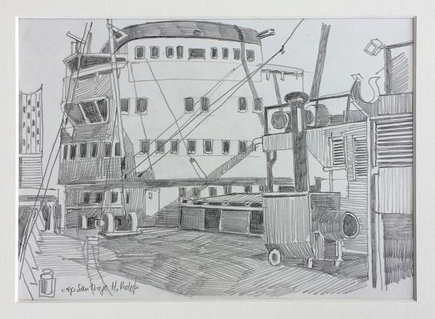 Cap San Diego, 2018, Bleistifft auf Papier, 21 x 29,7 cm