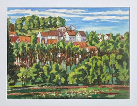 Tecklenburg, 2021, Öl auf Papier, 30x40 cm, Pleinair