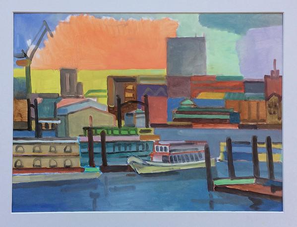 Die orange Wolke, Hamburg, 2018, Öl auf Papier, 30 x 40 cm