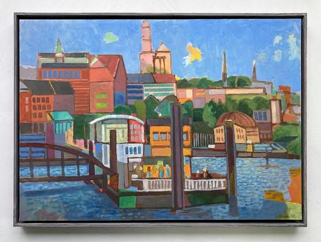 Hamburg Landungsbrücken, 2021, Öl auf Papier, 42x59 cm