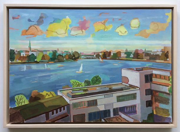 Alsterblick vom George aus, 2018, Öl auf Papier, 42 x 59 cm