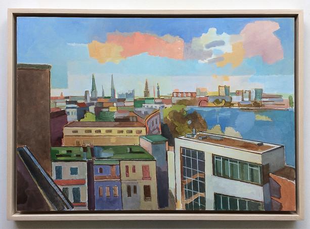 Blick auf die Hamburger Innenstadt, 2018, Öl auf Papier, 42 x 59 cm
