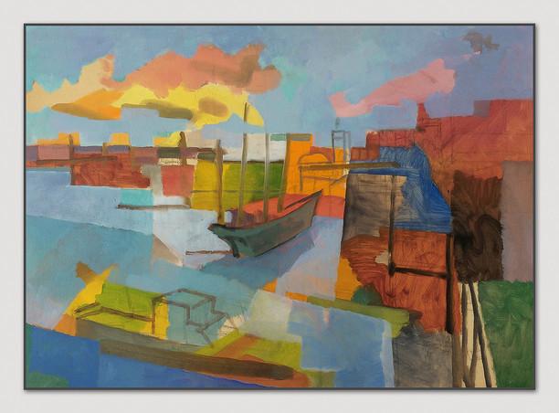 Landungsbrücken, 2016, Öl auf Papier, 42 x 59 cm - sold.