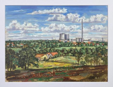 Bockraden von der Recker Straße aus gesehen, 2021, 30x40 cm, Pleinair