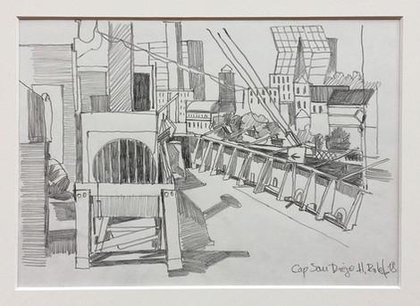 1_Cap San Diego, 2018, Bleistifft auf Papier, 21 x 29,7 cm