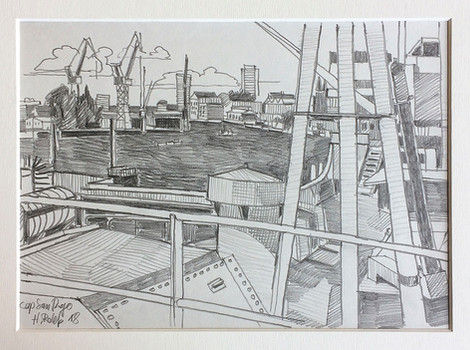 8_Cap San Diego, 2018, Bleistifft auf Papier, 21 x 29,7 cm