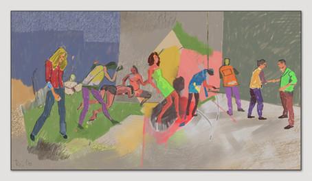 Unfallort, 2016, Digitalmalerei, Printsize 36 x 66 cm
