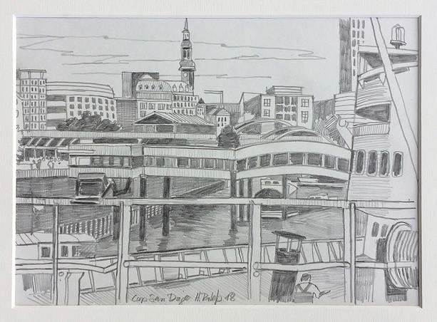 20_Cap San Diego, 2018, Bleistifft auf Papier, 21 x 29,7 cm
