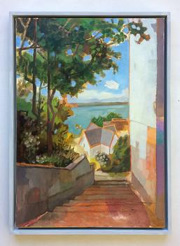 Blankenese Treppenviertel, 2018, Öl auf Papier, 59 x 42 cm