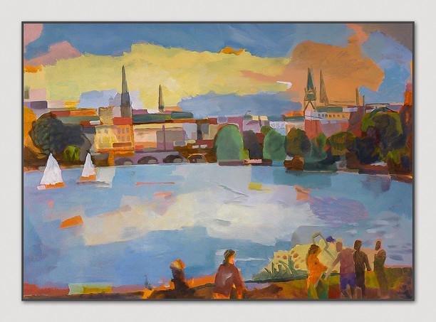 Blick auf die Innenstadt, 2013, Öl auf Papier, 50 x 70 cm - sold.