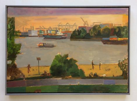 Hamburg, Elbe, Containerhafen, Sonnenuntergang, 2017, Öl auf Papier, 42 x 59 cm - sold.