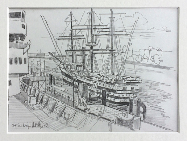 Cap San Diego + Amerigo Vespucci, 2018, Bleistifft auf Papier, 21 x 29,7 cm - sold.
