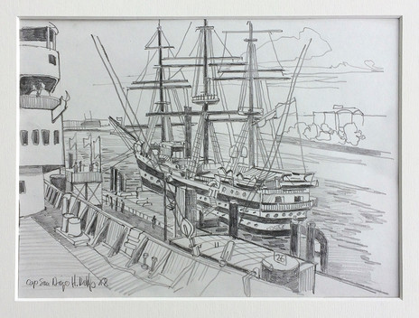 6_Cap San Diego + Amerigo Vespucci, 2018, Bleistifft auf Papier, 21 x 29,7 cm_verkauft