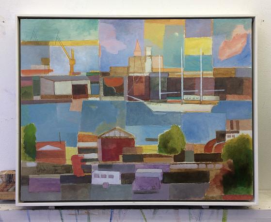 Blick auf Blohm und Voss, 2018, Öl auf Papier, 40 x 50 cm