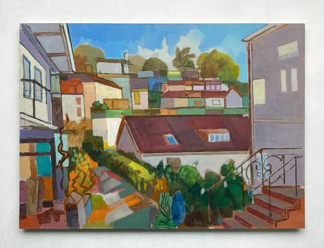 Treppenviertel Blankenese, 2021, Öl auf Papier, 42x59 cm