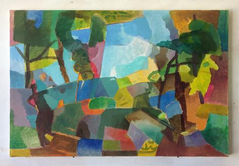 Landschaft, 2019, Öl auf Papier, 32x42 cm