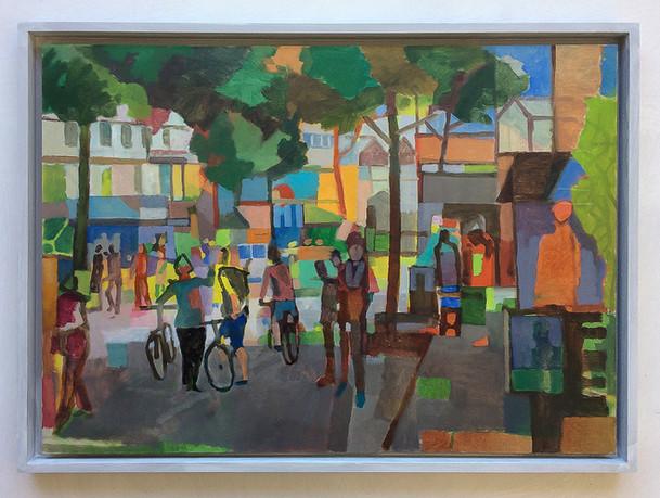 Hamburg Schanzenviertel, 2018, Öl auf Papier, 42 x 59 cm - sold.