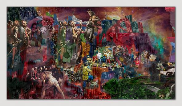 Weltentheater, 2013, Digital Malerei, Printsize, 36 x 66 cm