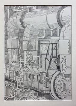 10_Cap San Diego, Maschinenraum, 2018, Bleistifft auf Papier, 21 x 29,7 cm