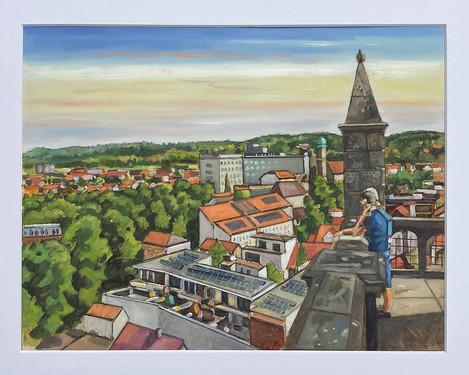 Ibbenbüren von der Christuskirche gesehen, 2021, Öl auf Papier, 30x40 cm, Pleinair