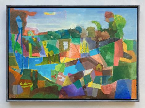 Landschaft, 2022, Öl auf Papier, 42x49 cm