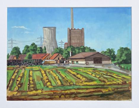 Kraftwerk von der Mettinger Grenze aus gesehen, 2021, Öl auf Papier, 30x40 cm, Pleinair