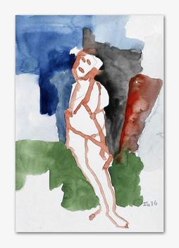 Angebunden, 2006, Aquarell, 24x16 cm