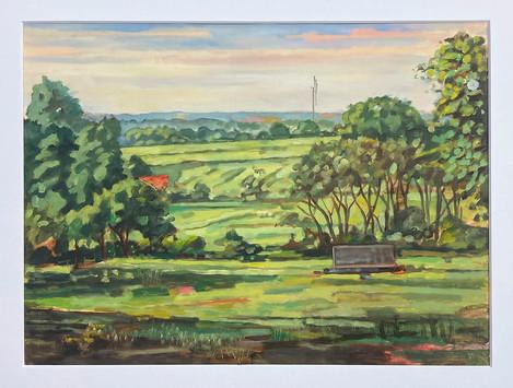 ITecklenburg, Blick vom Waldrand ins Münsterland, 2021, Öl auf Papier, 30x40 cm, Pleinair
