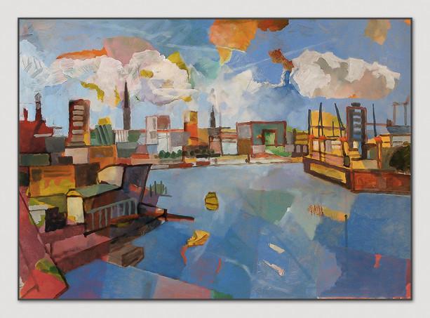 Hamburg (Hafeneinfahrt), 2014, Öl auf Papier, 50 x 70 cm - sold.