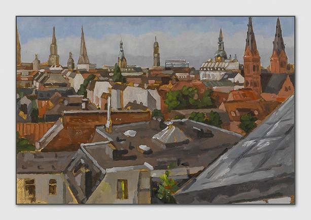 St Georg, 2008, Öl auf Papier, Pleinair, 28 x 38 cm - sold.