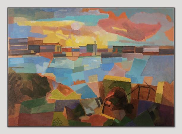 Hafenrand, Oel auf Papier, 42 x 59 cm
