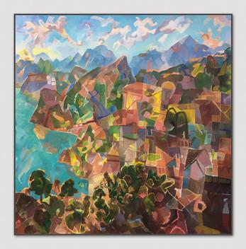 Luganer See von Bree aus gesehen, 2007-2017, Öl auf Leinwand, 170 x 170 cm