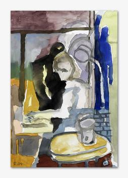 Gerlinde schreibt, 2005, Aquarell, 16x24 cm