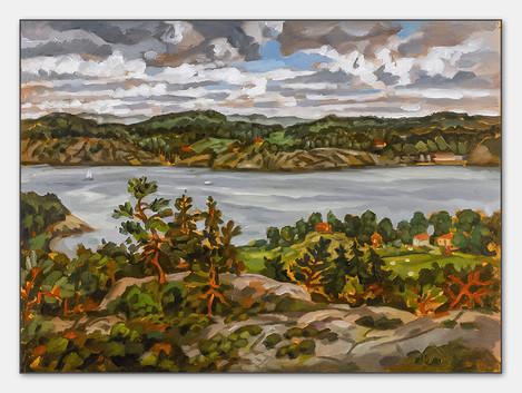 Gulmarnsfjorden Bohuslän, 2007, Öl auf Papier, 28x38 cm