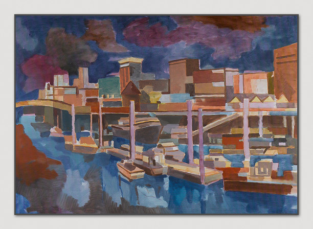 Baumwall (Nacht), 2013, Öl auf Papier, 50 x 70 cm