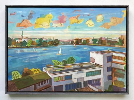 Blick auf die Alster, 2021, Öl auf Papier, 42x59 cm