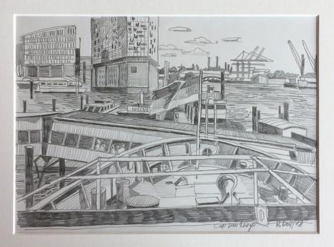 2_Cap San Diego, 2018, Bleistifft auf Papier, 21 x 29,7 cm