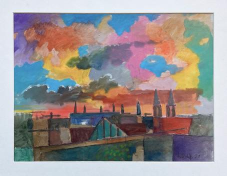 IMG_0350.jpgSonnenuntergang St Georg, 2021, Öl auf Papier, 40x40 cm